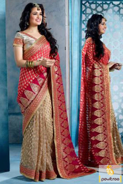 Wedding wear red beige georgette net designer saree online in cheap price India