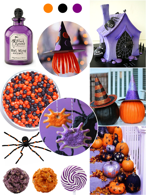 Orange, Purple and Black Halloween Party Ideas - via BirdsParty.com
