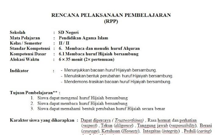 RPP PAI SD Kelas 2 Semester 2 Kurikulum KTSP