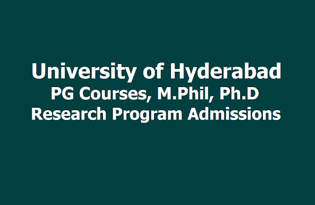 University of Hyderabad PG, Research Programs Admission notification 2019
