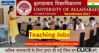 Allahabad University Recruitment 2017 for 542 Posts of Teaching Job