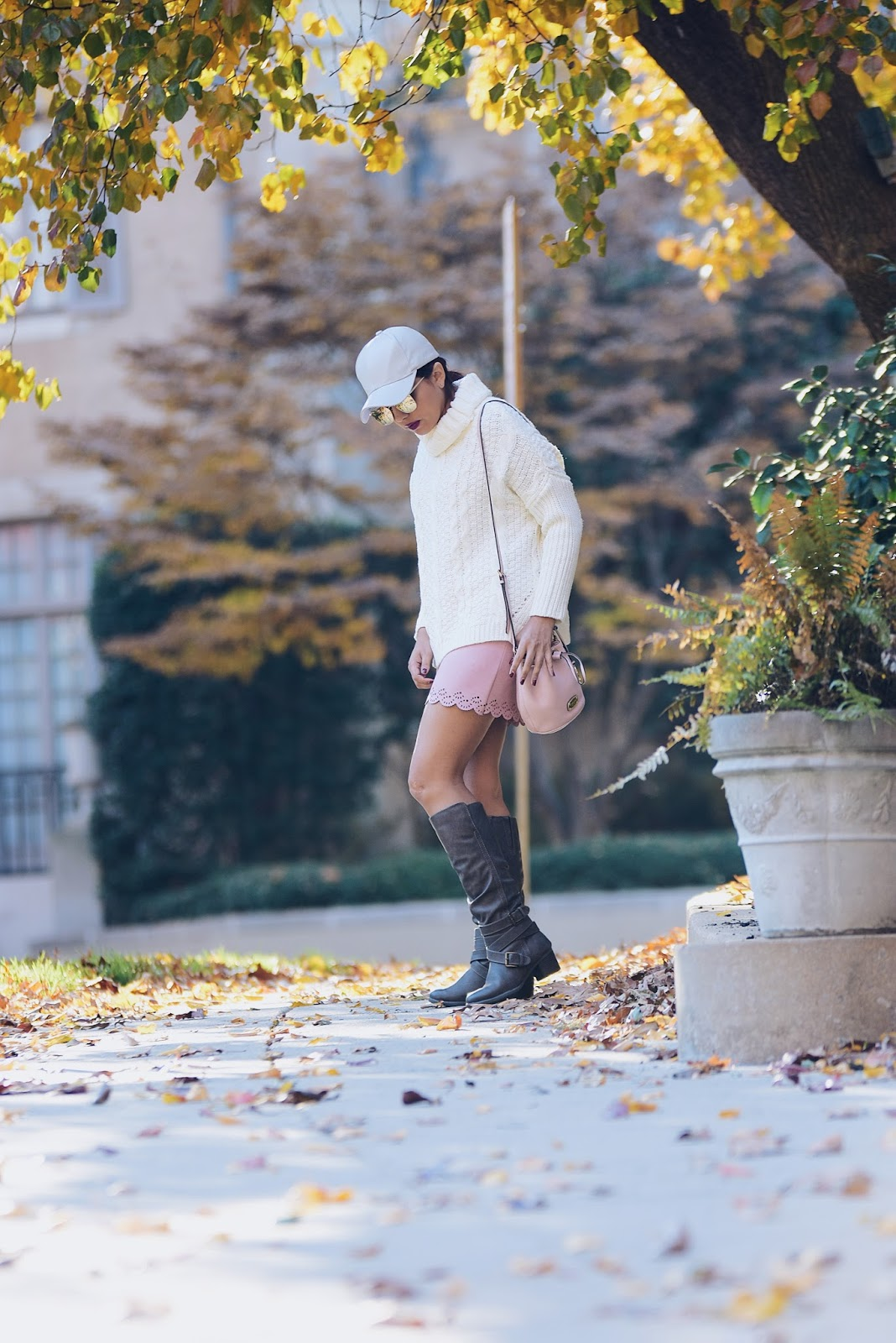 Cable Knit Sweater by Mari Estilo Wearing: Baseball Hat: Gamiss Cable Knit sweater: SheIn Skirt: Choies Bag: Michael Kors Boots: Target Style