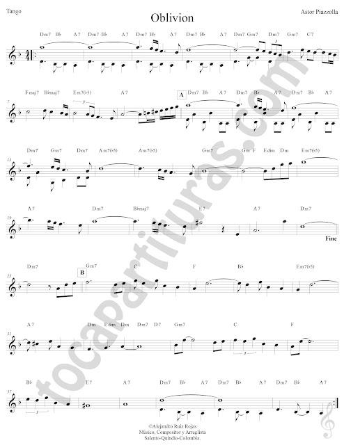 Oblivion de Tango de Astor Piazzolla Partitura Fácil con Acordes Oblivion Easy Sheet Music with Chords