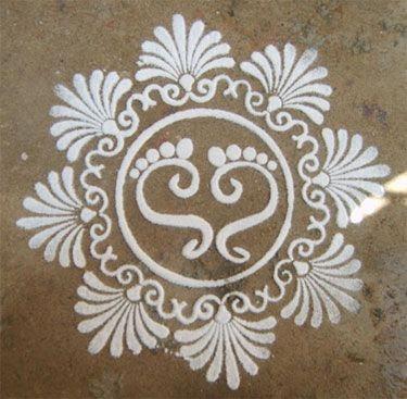 laxmi feet rangoli design