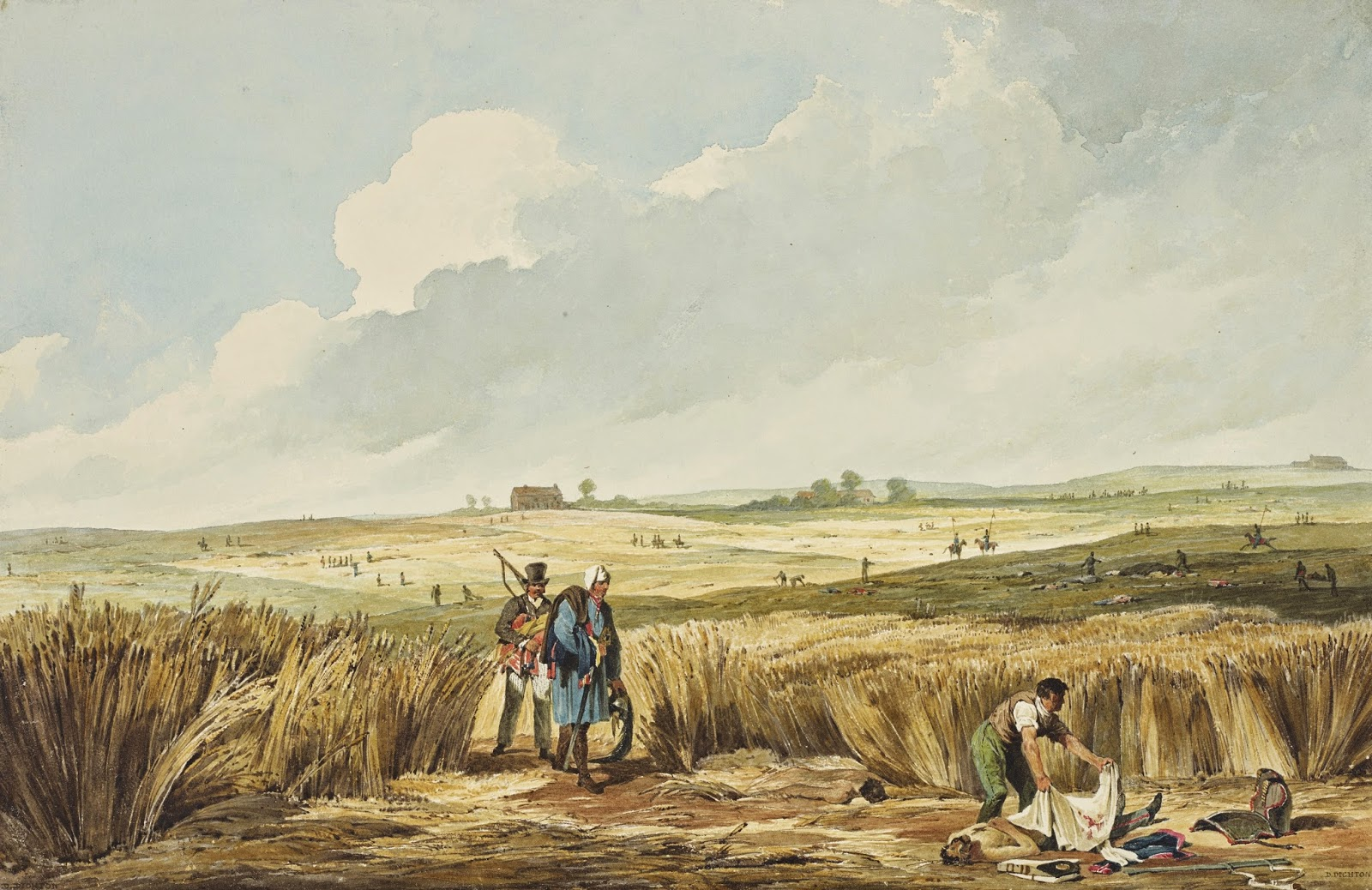 Distant View of La Belle Alliance, Field of Waterloo (1815)  by Denis Dighton  Royal Collection Trust © Her Majesty Queen Elizabeth II 2014