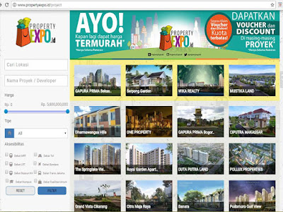 Tampilan propertyexpo.id via pc/laptop