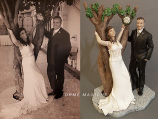 scultura anniversario matrimonio ricordo sposi cake topper da foto albero orme magiche