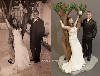 statuine torta anniversario statuette da foto matrimonio nozze oro argento orme magiche