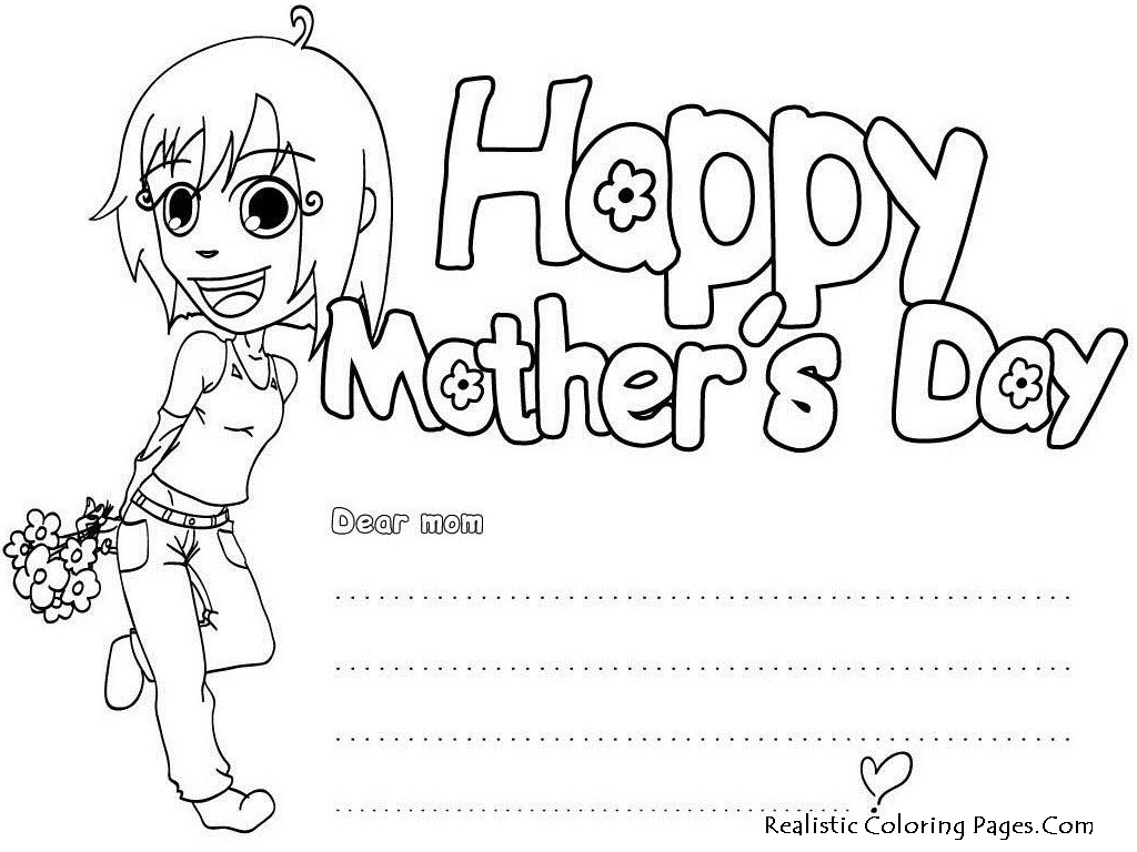 Mothers Day 2013 Greeting Card Realistic Coloring Pages