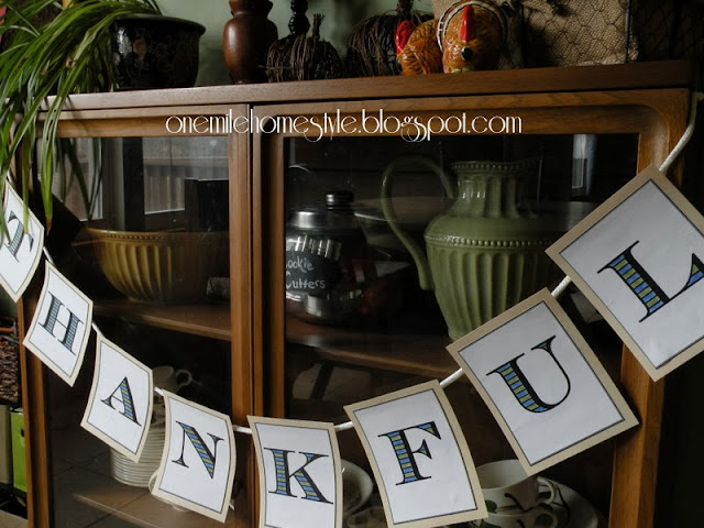Thankful bunting with blue and green accents
