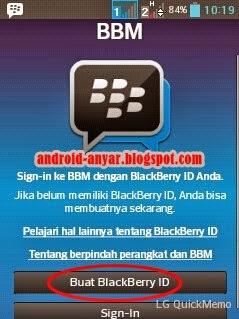 Gambar Langkah Membuat ID BlackBerry untuk Android