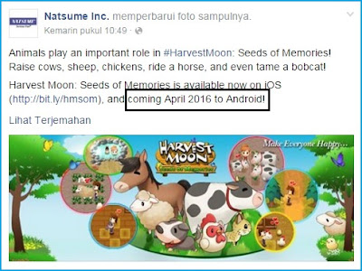Resmi, Inilah Jadwal Rilis Harvest Moon : Seeds of Memories di Android