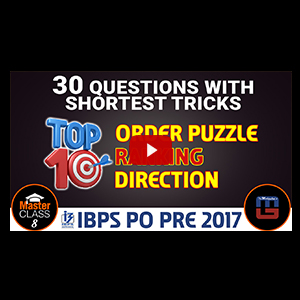 Master Class | Top 10 Order Puzzle | Ranking | Direction | Reasoning | Class 8 | IBPS PO 2017