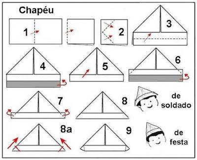 Origami de Chapéu e espada de Soldado