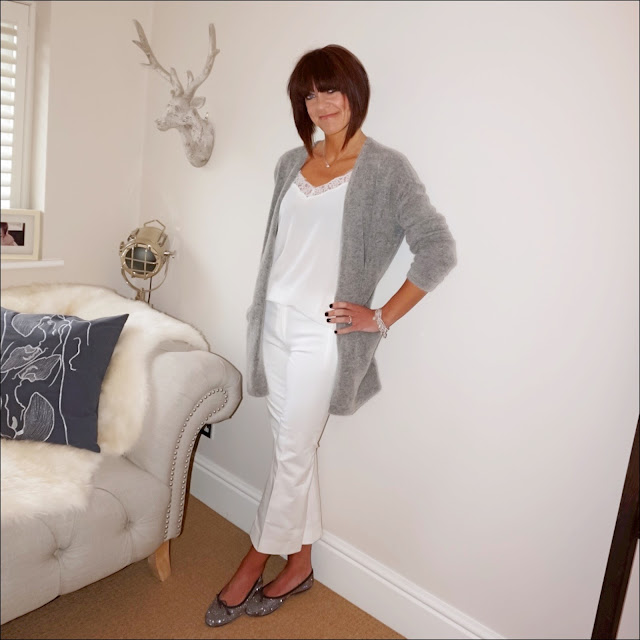 My Midlife Fashion, hm mohair cardigan, the white company lace trim silk camisole, j crew cropped kick flare sammie trousers, metallic ballet pumps