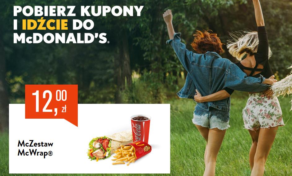 Kupony McDonald 10 lub 12 zł za Zestaw McDouble lub Zestaw McWrap