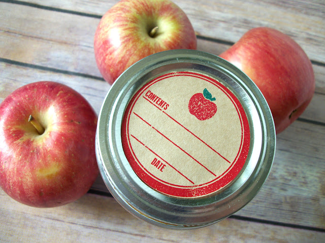 Kraft Rubber Stamp Apple Mason Jar Labels