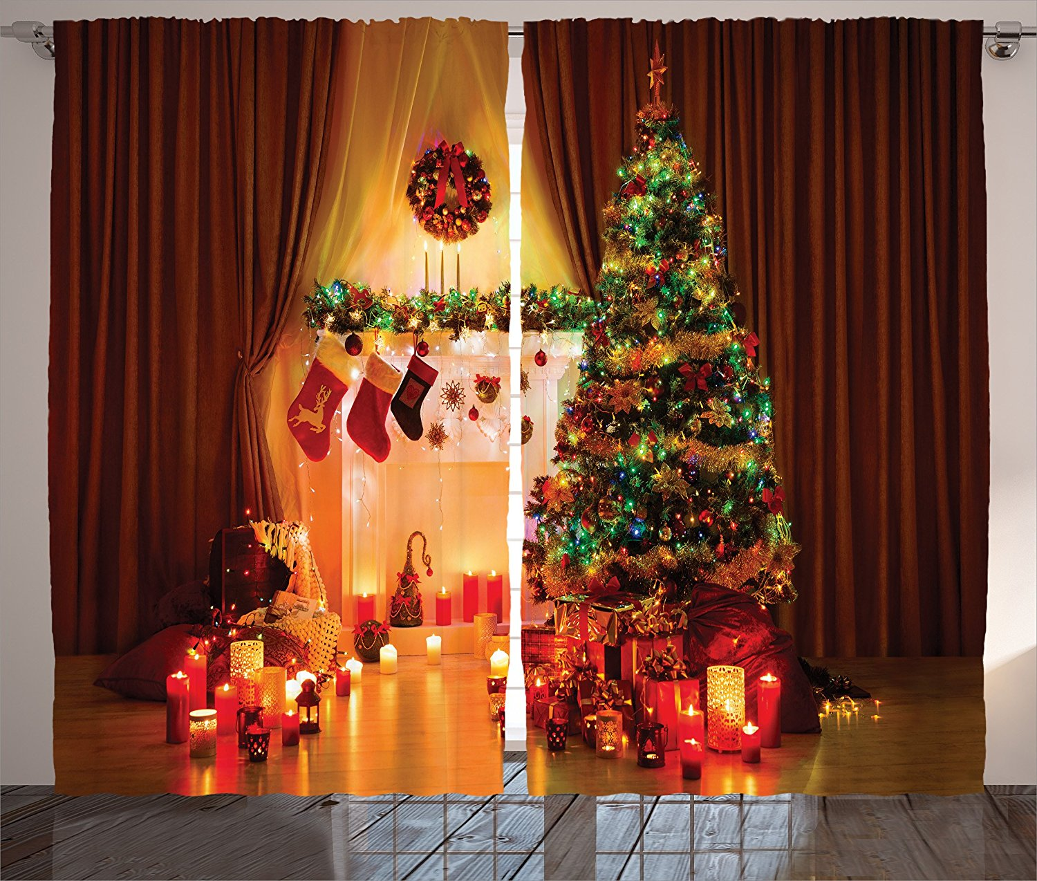 Top christmas curtains to decorate home holidays blog for Where can i find christmas decorations