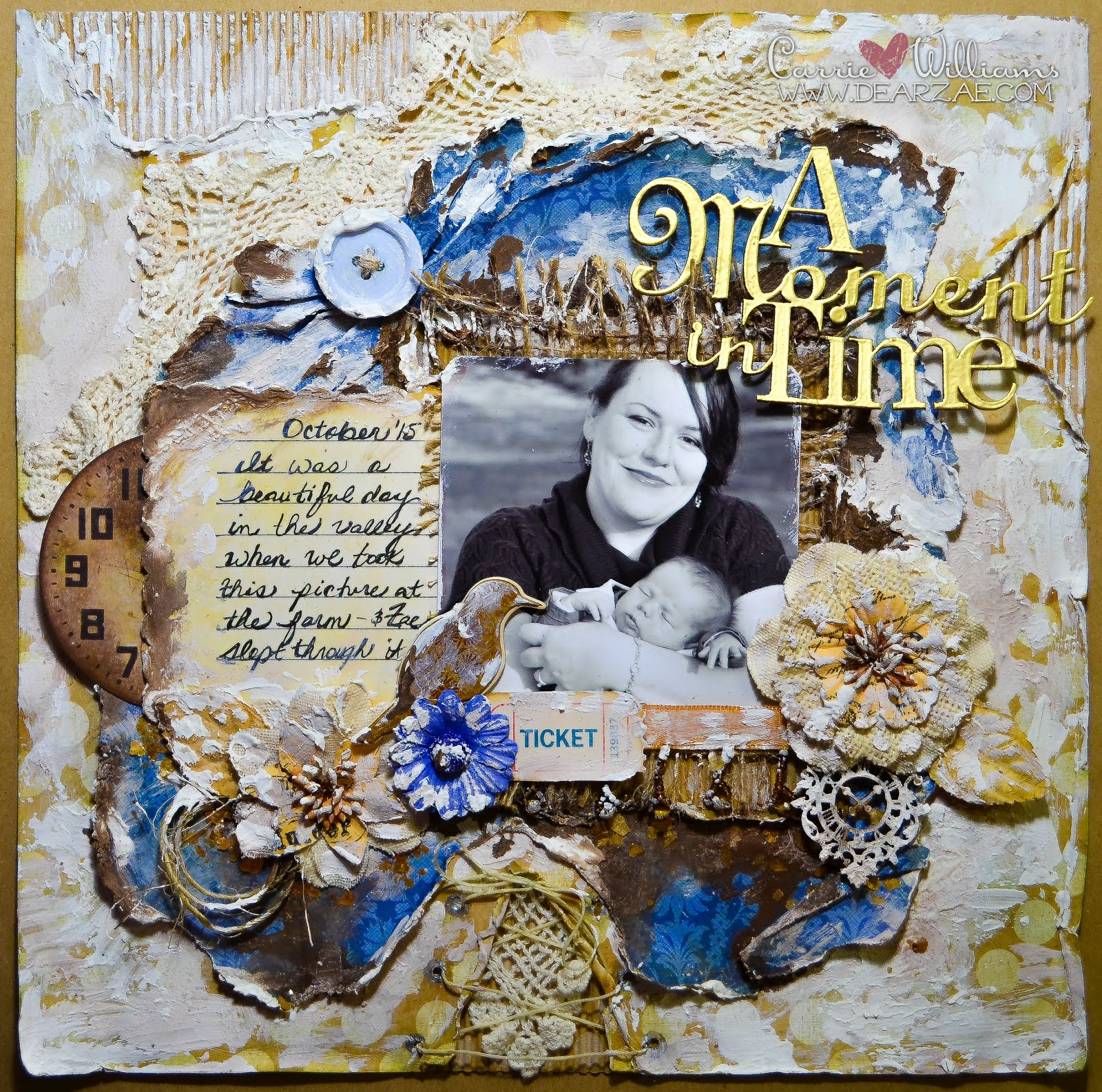 Rustic mixed media scrapbook layout in blue and beige with texture paste, distress paint, mica flakes, burlap flowers, heat embossed Blue Fern Studios chipboard in a time theme.