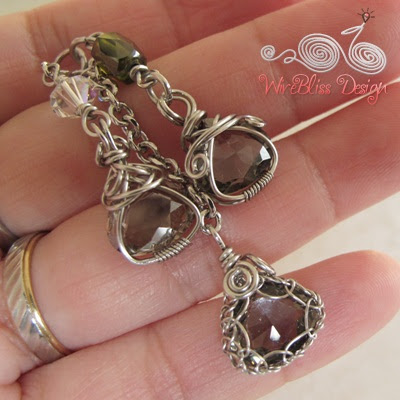 Wire wrapped crystal pendants