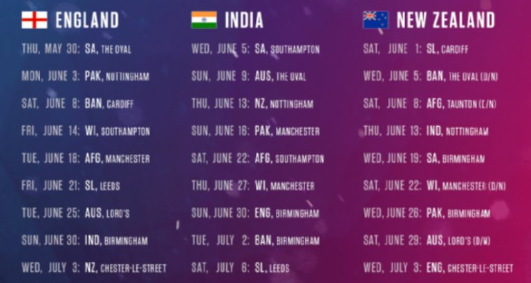 world cup 2019 time table india timing