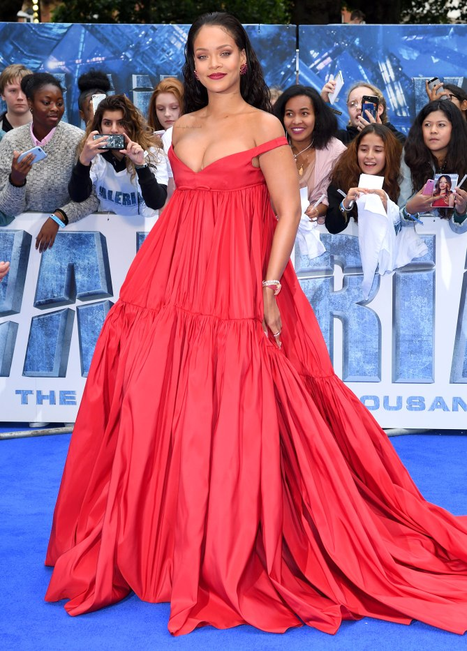 Tres Chic Celebrity Style Rihanna In Red Off Shoulder Ball Gown
