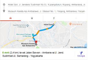 google map dari hotel sari ambarawa menuju museum kereta api nurul sufitri