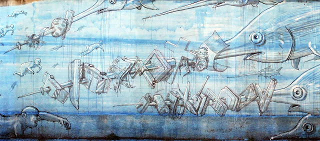 Street Art By Blu in Messina At Teatro Pinelli Occupato. - fish details 2