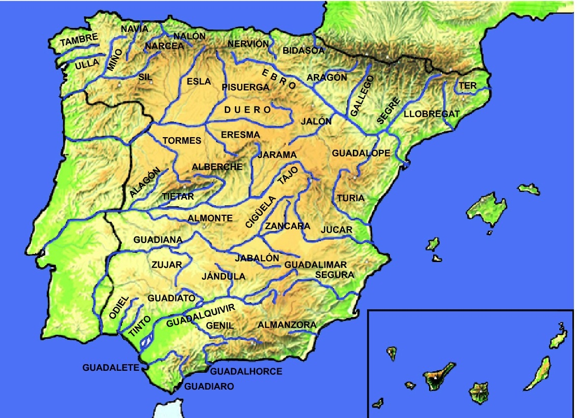 Map Of Spain Rivers.Rivers Of Spain Maps Ms Easy Peasy English Class