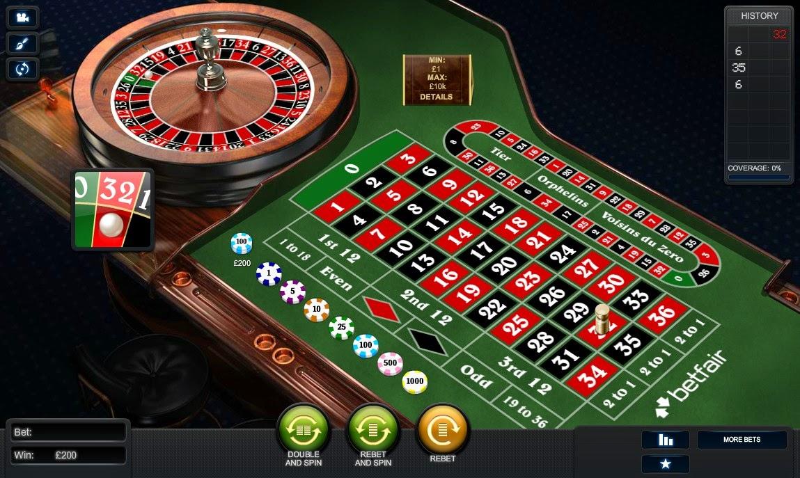 Betfair Casino Roulette Screen