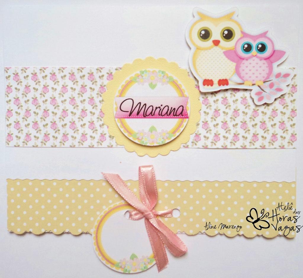 convite artesanal aniversário infantil floral jardim coruja corujinha passarinho rosa bege creme branco