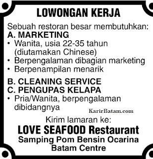 Lowongan Kerja Love Seafood Restaurant