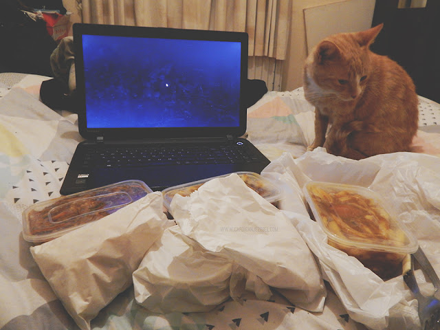Chinese food, laptop, and cat