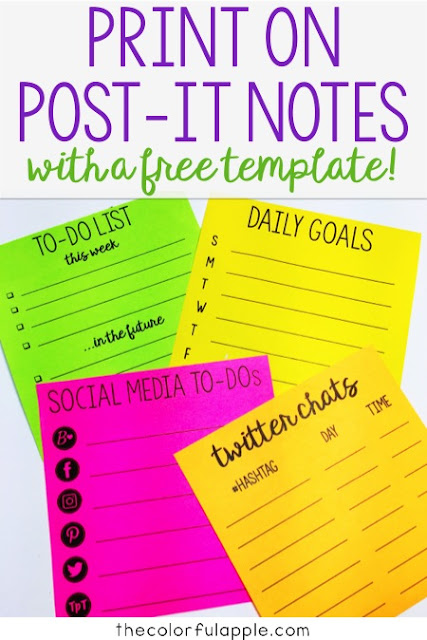 Did you know that you can print on post-it notes??  My organized life just got even more organized!  This post has a free template for printing goals and to-do lists.  So helpful!