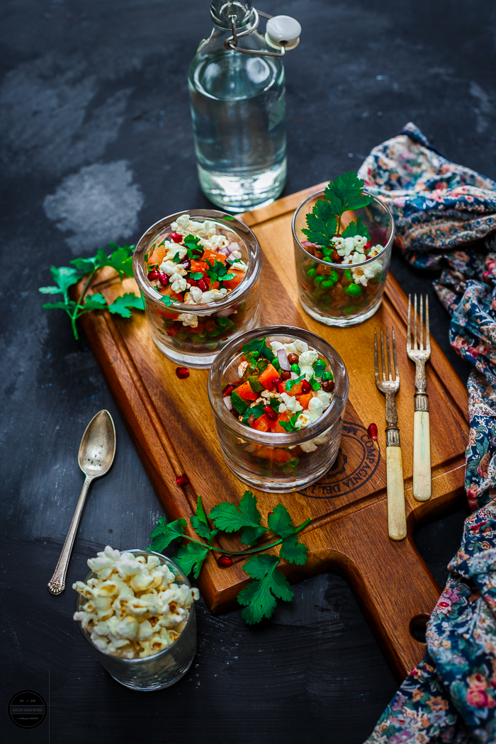 Try this healthy and tasty Green pea, Chickpea and Popcorn Bhel/Chaat or spice mix. It is a unique snack that is nutritious and colourful. This crispy and crunchy healthy mix can be done in a few tics and definitely satisfy your hunger pangs whenever you feel like having a snack.