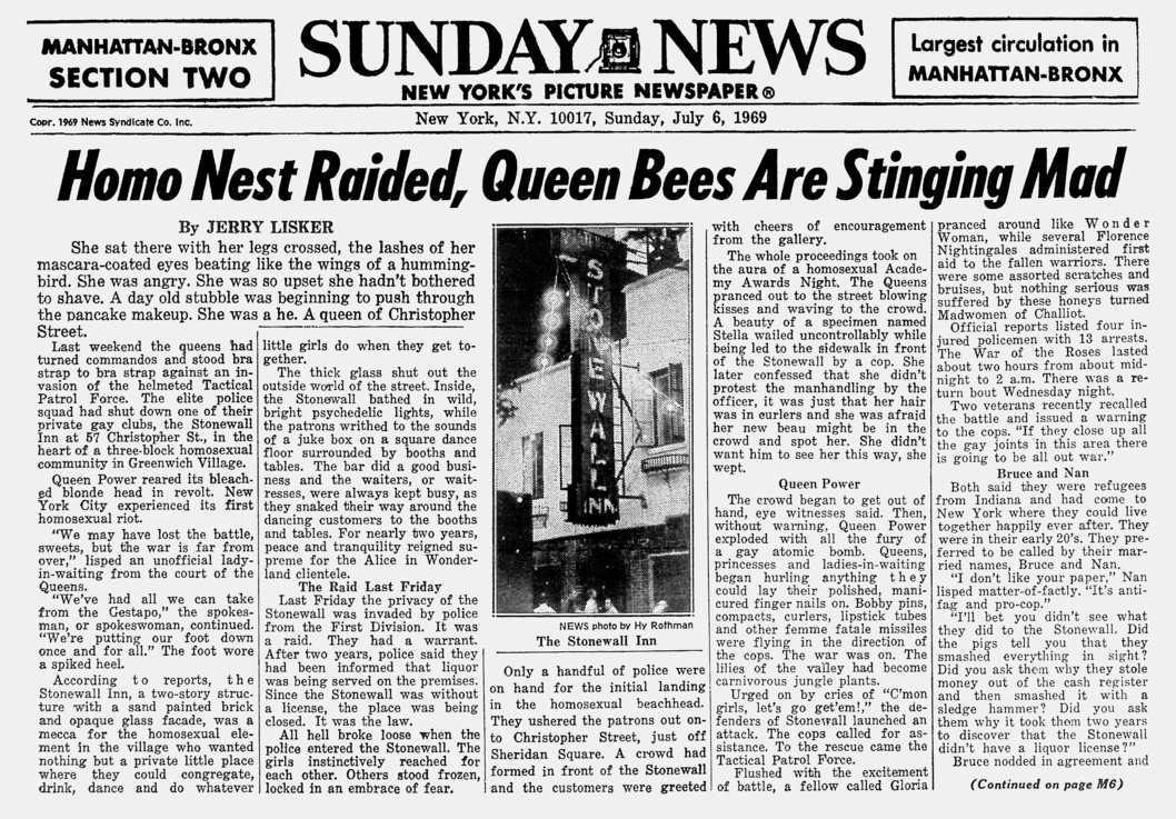The Randy Report Stonewall Riots Newspaper Reports Homo Nest