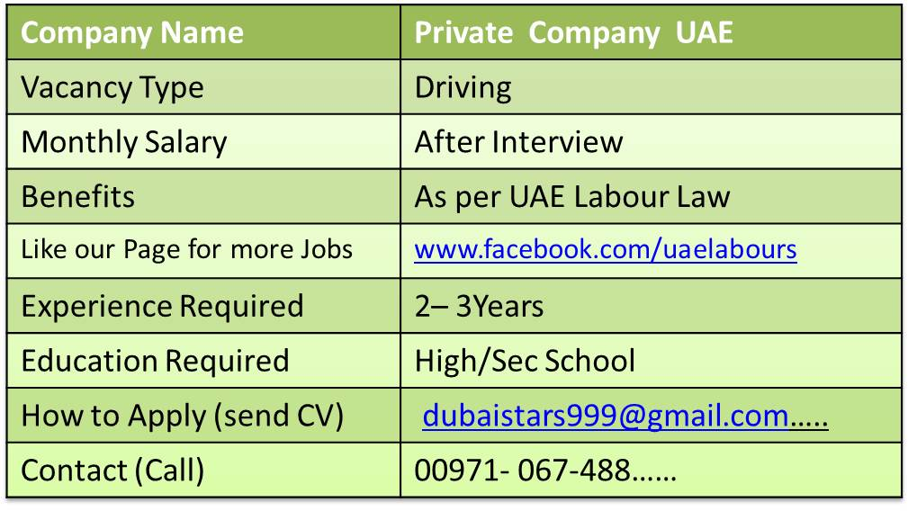 driver jobs in uae