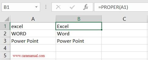 rumus proper mengubah huruf menjadi besar pada kata pertama dan kecil setelahnya di excel
