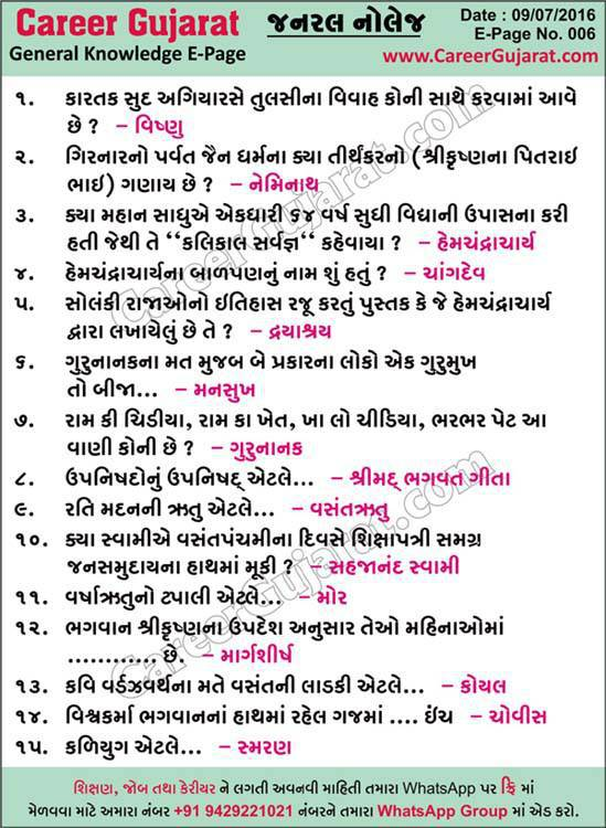 Career Gujarat General Knowledge Page - Dt. 09/07/2016