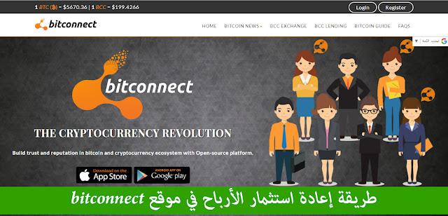 طريقة إعادة استثمار الأرباح في موقع bitconnect