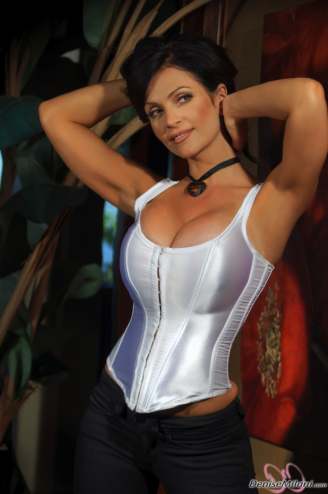 denise milani 39 s massive cleavage in sexy white top picx. Black Bedroom Furniture Sets. Home Design Ideas