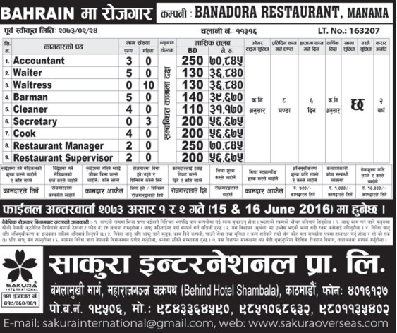 Jobs For Nepali In Bahrain, Salary -Rs.70,000/