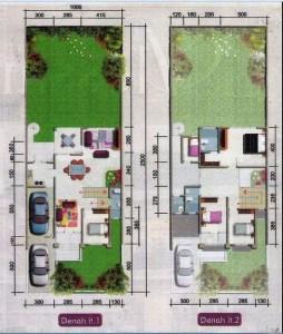 denah rumah minimalis gaya modern type 1 lantai dan 2