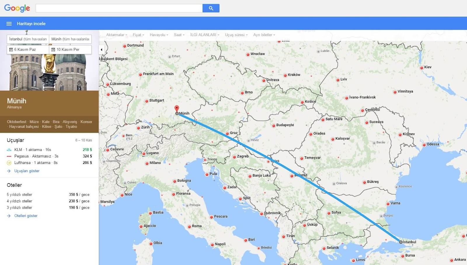 Google Flights Özellikleri