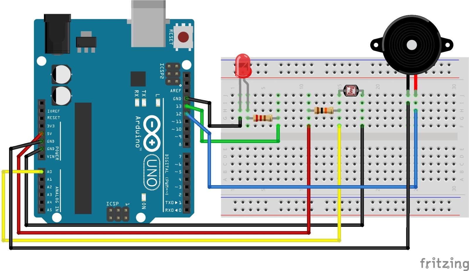 Arduino LDR sensor  LED  BUZZER Tutorial