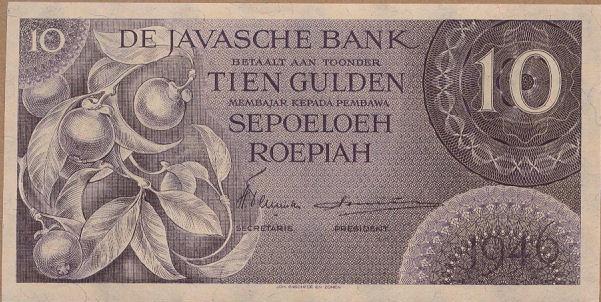 10 rupiah versi DJB 1946 depan
