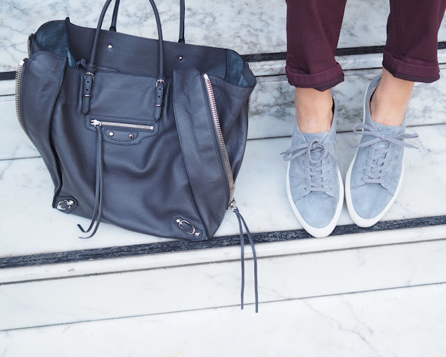 donna ida dungarees, l.k. bennett trainers, balenciaga papier bag, london blogger, street style