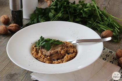Délicieux risotto aux champignons frais et sa crème de champignons pour les fêtes, recette végétale