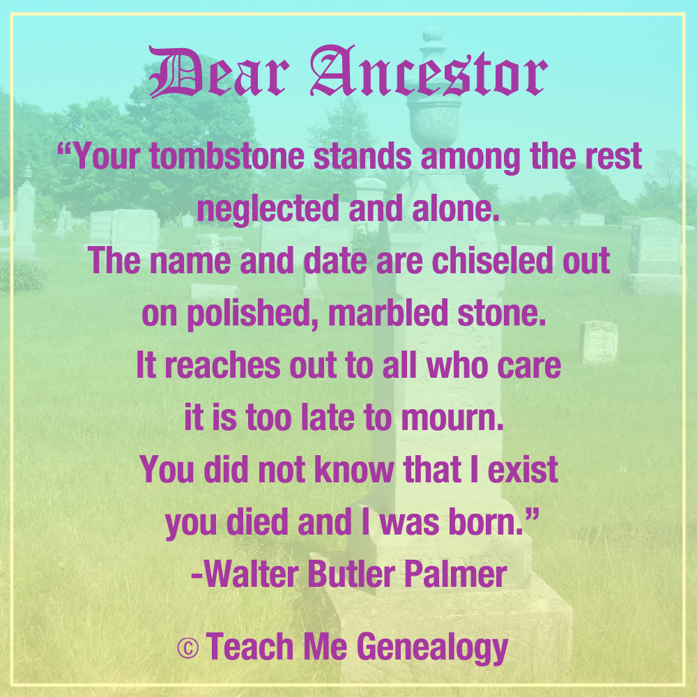 """Quotes And Poems: """"Dear Ancestor"""" Poem By Walter Butler Palmer"""