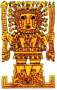 Dibujo del Dios Wiracocha o Huiracocha a color